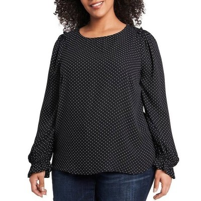 セセ レディース シャツ トップス Plus Size Long Sleeve Ruffled Shoulder Polka Dot Print Blouse