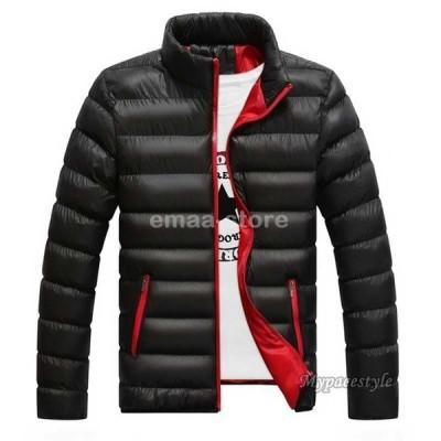 中綿ジャケット メンズ ジャケット スタンドカラー 細身 スリム カジュアル 厚手 保温 防寒 おしゃれ 無地 アウター 大きいサイズ 秋 冬 切替