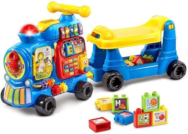 【 Vtech 聲光玩具 】4合1智慧積木學習車(藍款) / JOYBUS玩具百貨