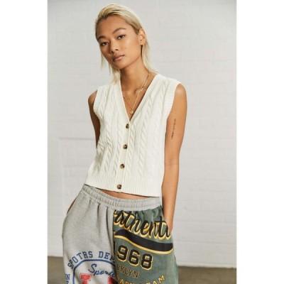 アーバンアウトフィッターズ Urban Outfitters レディース カーディガン ケーブルニット トップス UO Cable Knit Sleeveless Cardigan Cream
