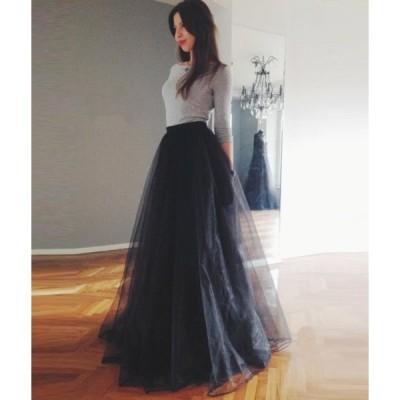 ロングスカートコーデAラインプリーツスカートフレアプリーツチュールスカートマキシ丈ミモレ丈大きいサイズ
