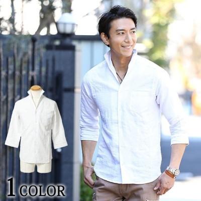 フレンチリネン素材スタンドカラー7分袖シャツ