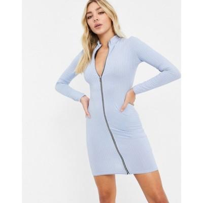 アイソウイットファースト I Saw It First レディース ワンピース ワンピース・ドレス Zip Front High Neck Ribbed Dress ブルー