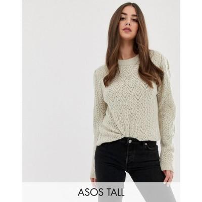 エイソス ASOS Tall レディース ニット・セーター トップス ASOS DESIGN Tall chunky jumper with stitch detail Oatmeal