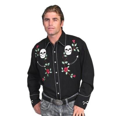 ウエスタンシャツ スカル ローズ 刺繍 MEN'S D SLEEVE SKULL ROSES 長袖シャツ 衣装 大きめサイズ