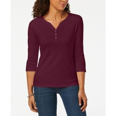 ケレンスコット レディース シャツ トップス Petite 3/4-Sleeve Henley Shirt