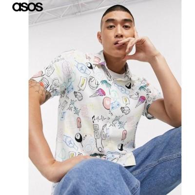 エイソス メンズ ホワイト 半袖シャツ プリント レギュラーフィット