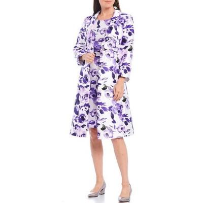 ジョン・メイヤー レディース ワンピース トップス Shawl Neck Printed Floral Mikado Jacquard Coat 2-Piece Dress Suit Purple Combo