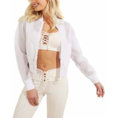 ゲス レディース ジャケット・ブルゾン アウター Mesh-Knit Zip-Front Jacket True White