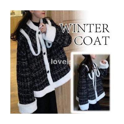ウィンターコート チェック柄 ボア ショート丈 かわいい カジュアル レディース 冬 ブラック フリーサイズ