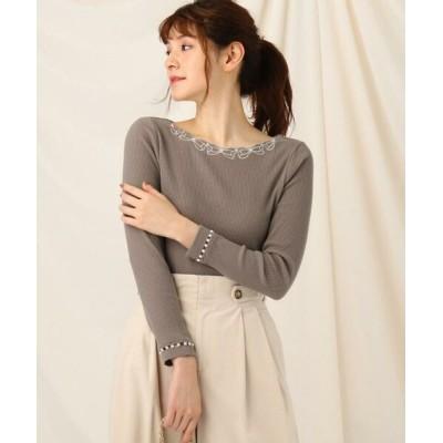 Couture Brooch/クチュールブローチ リボンパールキモウテレコプルオーバー ブラウン(042) 38(M)