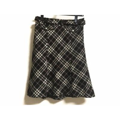 バーバリーブルーレーベル スカート サイズ36 S レディース 美品 - ダークブラウン×ベージュ×ライトピンク【中古】20201011