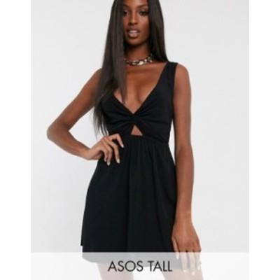 エイソス レディース ワンピース トップス ASOS DESIGN TALL tie back beach sundress with twist front detail in black Black