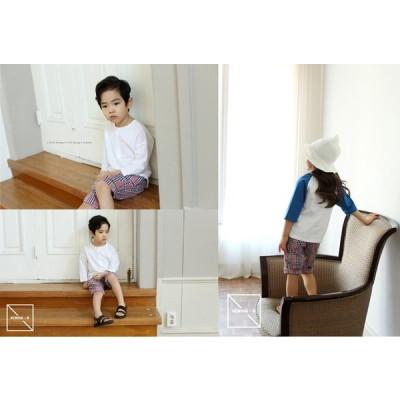 韓国子供服 チェック柄布帛ショートパンツ