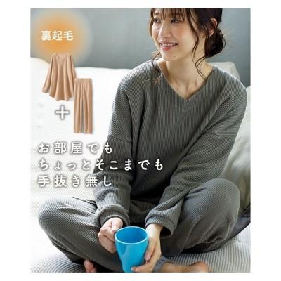 Tシャツ カットソー レディース ゆるっ ワッフル素材 セットアップ S/M/L/LL ニッセン nissen