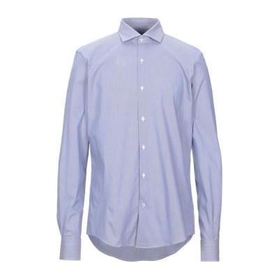 MASSIMO BRUNELLI ストライプ柄シャツ ファッション  メンズファッション  トップス  シャツ、カジュアルシャツ  長袖 ブルー