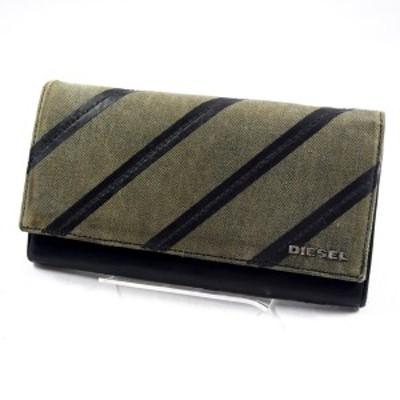 DIESEL / ディーゼル ◆二つ折り長財布/キャンバス/グレー×ブラック メンズファッション【財布/サイフ】 【中古】