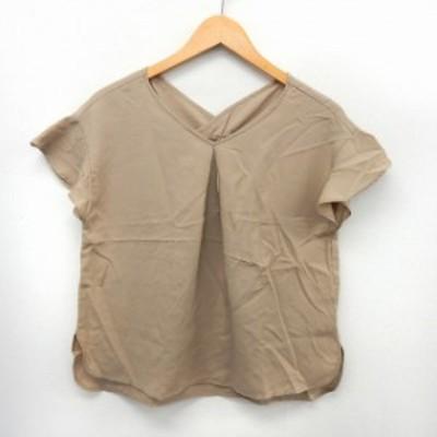 【中古】AZUL ENCANTO カットソー Tシャツ 半袖 タック シンプル フリル袖 Vネック S ベージュ /ST20 レディース