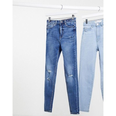 ストラディバリウス レディース デニムパンツ ボトムス Stradivarius super high waist skinny jeans in with rip in medium blue Blue