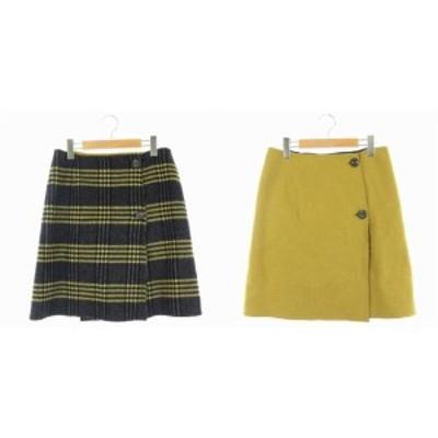 【中古】イエナ IENA Wフェイス リバーシブル スカート 台形スカート ミニ チェック ウール 38 黄色 黒 レディース
