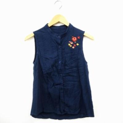 【中古】クリア clear シャツ ブラウス 花刺繍 シンプル 袖なし ノースリーブ コットン 綿 F ネイビー レッド 紺 赤