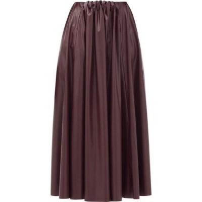 ロクサンダ Roksanda レディース ひざ丈スカート スカート Ada gathered-waist faux-leather midi skirt Burgundy