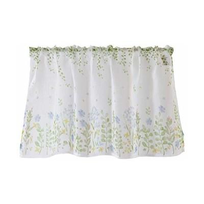 Sunny day fabric カフェカーテン ボタニカルフラワー 幅100cm x 丈45cm (ブルー)