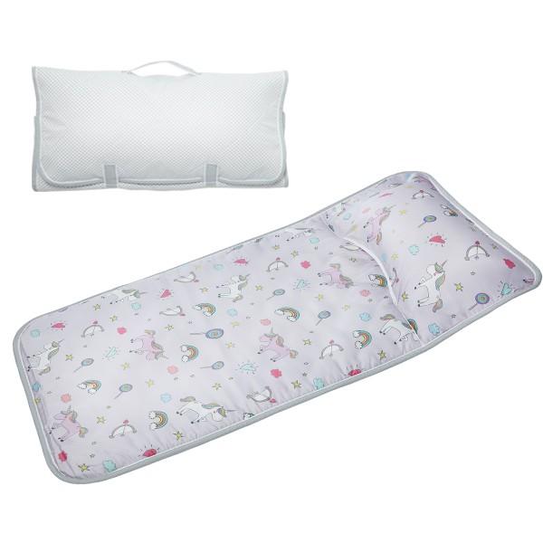 享居DOTDOT 2in1天絲睡袋睡墊組(夢幻獨角獸) 專利產品 防螨抗菌 透氣防滑 收納快速 台灣製 幼稚園 收納袋洗