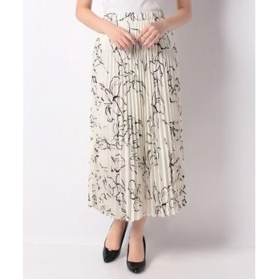 【サリア】 花柄シフォンプリーツスカート レディース ホワイト M salire