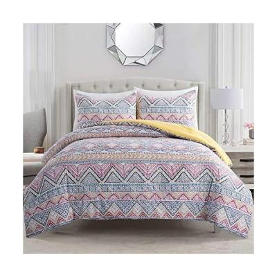 ARTALL ボヘミアン寝具掛け布団3点セット ボーホーストライプ リバーシブル イエロー フル/クイーンサイズ