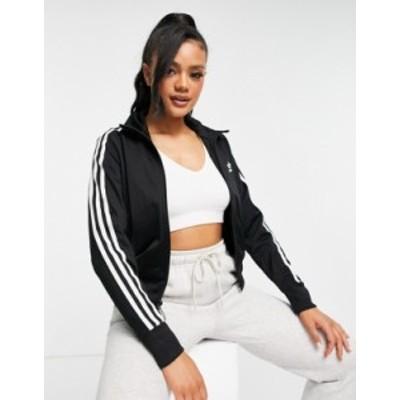 アディダス レディース ジャケット・ブルゾン アウター adidas Originals three stripe track top in black Black