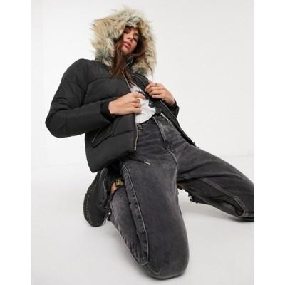 トップショップ レディース ジャケット・ブルゾン アウター Topshop puffer jacket in black