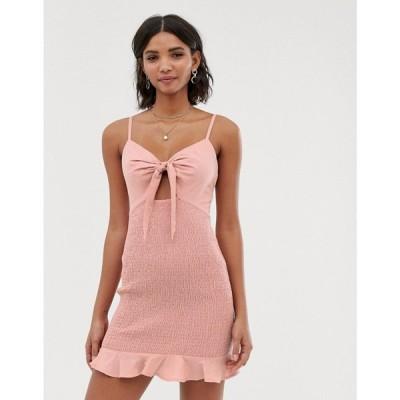 エイソス ASOS DESIGN レディース ワンピース ワンピース・ドレス bow front mini sundress with shirred skirt Dusky pink
