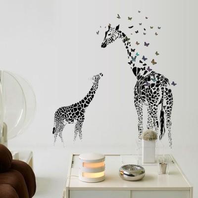 2枚セット ウォールステッカー 壁紙 シール 貼ってはがせる 壁装飾 おしゃれ 防水 クリエイティブ装飾 リビングルーム ホーム 寝室 キリン