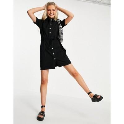 ミス セルフリッジ Miss Selfridge レディース ワンピース デニム シャツワンピース ワンピース・ドレス denim shirt dress in black ブラック