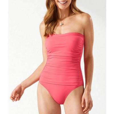 トッミーバハマ レディース ワンピース トップス Pearl Solids Shirred Bandeau Tummy Control One Piece Swimsuit