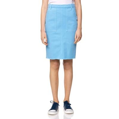 BENETTON (women) バックポケット刺繍ミディカットオフタイトスカート(ライトブルー)【返品不可商品】