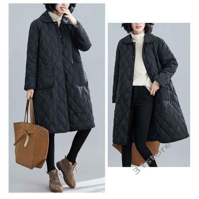コートレディースキルティングジャケットジャケットロングコートアウター秋冬秋服中綿大きいサイズゆったり黒ブラック40代