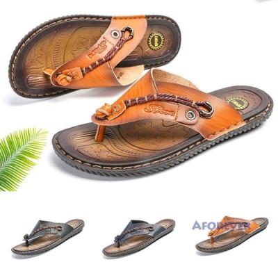 サンダル メンズ 履きやすい トングサンダル スリッパ 革サンダル ビーチサンダル ビーサン アウトドア 水陸両用