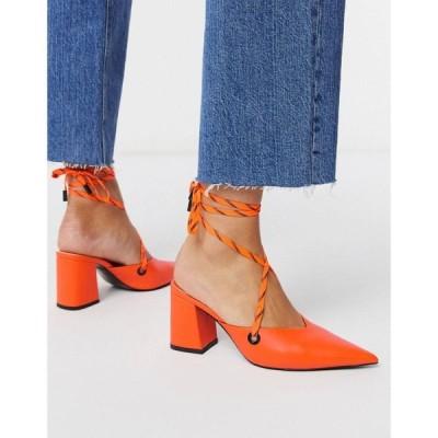 エイソス ASOS DESIGN レディース ヒール シューズ・靴 Seeker tie leg mid heels in neon orange