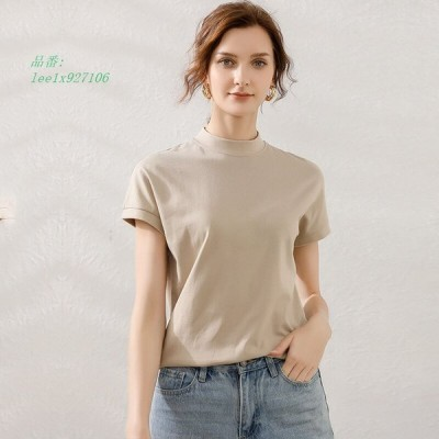 Tシャツ レディース トップス 春夏 春物 夏物 ミディアム丈 送料無料 オフィス 無地 モックネック 半袖 大きいサイズ