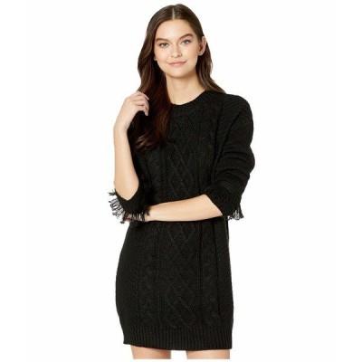ビービーダコタ ワンピース トップス レディース Cable That Way Front Sweater Dress with Wrist Fringe Black