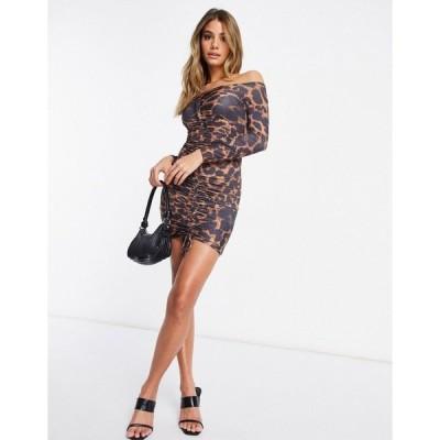 ファム ルクス レディース ワンピース トップス Femme Luxe off shoulder long sleeve mini dress in leopard print Multi