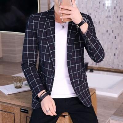 チェック柄 平常着 トップス ブレザー メンズ シルエット ファッション 長袖 スーツ ジャケット 新作