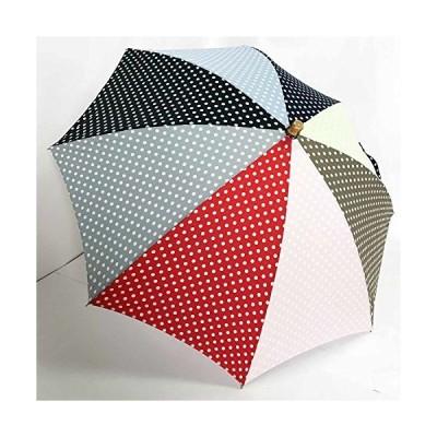 日本製 高級傘 日傘 晴雨兼用傘 おしゃれな 水玉 ドット柄 UVケアパラソル 47cm 長傘 婦人傘 (マルチ水玉)