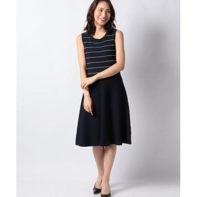 【ミス ジェイ】 ハノン タックボーダーニットドレス レディース ネイビー 38 MISS J