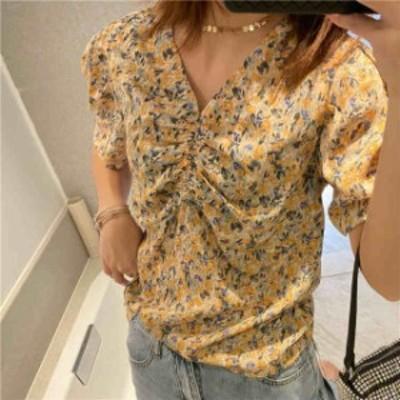 レディース ブラウス Vネック 花柄 半袖 ショートシャツ トップス カジュアル キュート フェミニン きれいめ S M サイズ