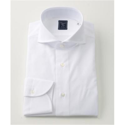 [シャツ]ヒトヨシ 絡み織 ドレスシャツ HS8S-C-168 ホワイト 38-84