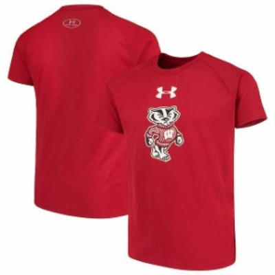 Under Armour アンダー アーマー スポーツ用品  Under Armour Wisconsin Badgers Youth Red 2.0 Logo Tech T-Shirt
