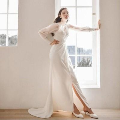 ウェディグドレス 長袖 花嫁 二次会 結婚式 マーメイドラインドレス 大きいサイズ 白 パーティードレス ロングドレス 海外挙式 トレーン オフホワイト 送料無料